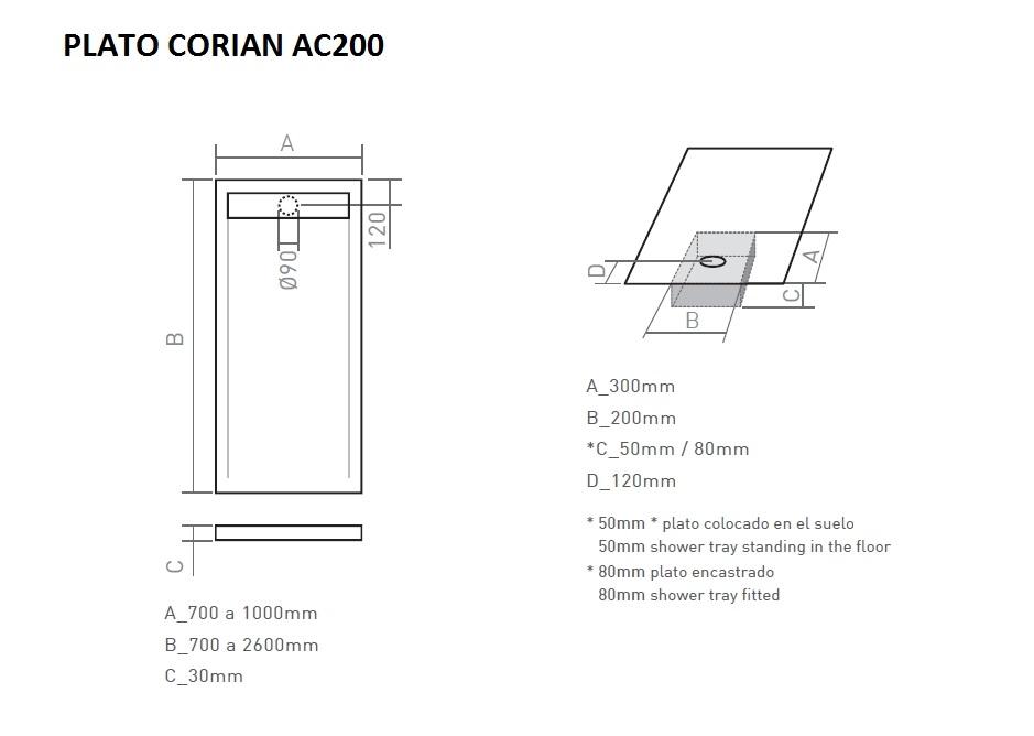 Receveur de douche solid surface ac200 - Plato ducha corian ...